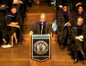 Mayor Bloomberg giving commencement speech.