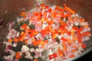 Sauteeing some Peppers and onions